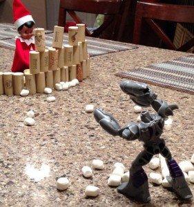 Elf on the shelf in marshmallow battle