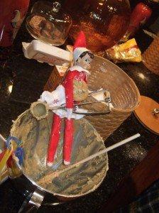 Elf on the shelf makes Christmas cookies