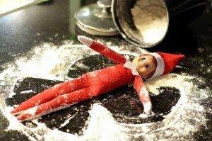 Elf on the shelf makes snow angels