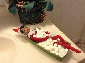 Elf on the shelf takes a marshmallow bath